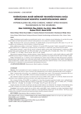 yenidoğanda masif eritrosit transfüzyonuna bağlı hiperpotasemi