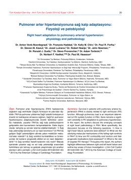 Pulmoner arter hipertansiyonuna sağ kalp adaptasyonu: Fizyoloji ve