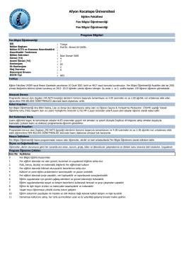 Bölümün Amaçları, Program Çıktıları ve Dersleri