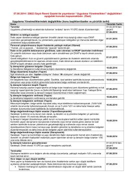 07.06.2014 tarihli Resmi Gazetede yayımlanan değişikliklere ilişkin