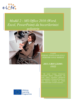 Modül 2 - MS Office 2010 (Word, Excel, PowerPoint) da