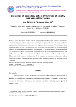 Evaluation of Secondary School 10th Grade Chemistry Instructional