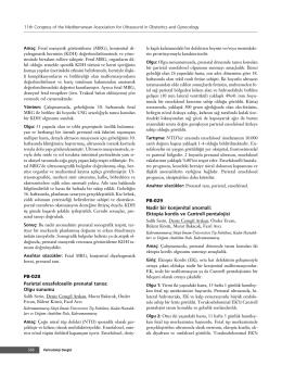 PB-028 Parietal ensafeloselin prenatal tan›s›: Olgu sunumu PB-029