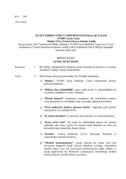 R.G 249 18.12.2014 KUZEY KIBRIS TÜRK CUMHURİYETİ