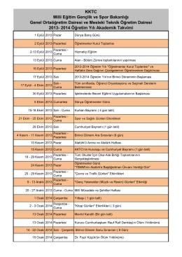 2013-2014 Öğretim Yılı Akademik Takvimi