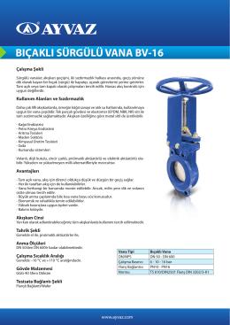 bıçaklı sürgülü vana bv-16