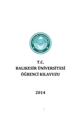 tc balıkesir üniversitesi öğrenci kılavuzu 2014