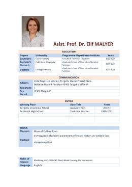 Asist. Prof. Dr. Elif MALYER
