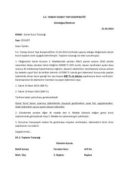 S.S. TANKAY KONUT YAPI KOOPERATİFİ Gündoğan/Bodrum 21.02