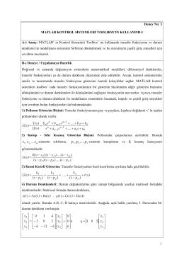 EET-305 Kontrol Sistemleri Dersini Alan Öğrenciler İçin