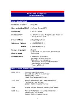 1 Assist. Prof. Dr. Olga Pilli (Curriculum Vitae) PERSONAL DETAILS