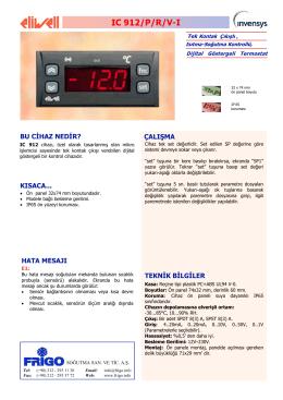 IC 912 TR - FRİGO SOĞUTMA SANAYİ ve TİCARET A.Ş.