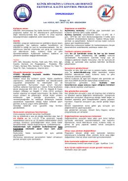 Immunoassay Dökümanı - KBUDEK Eksternal Kalite Kontrol Programı