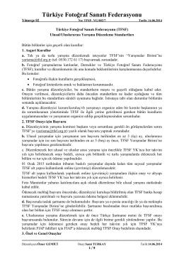 TFSF U/UA Yarışma Düzenleme Standartları
