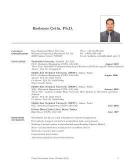 Barbaros C¸etin, Ph.D. - Mechanical Engineering