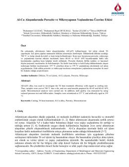 Al-Cu Alaşımlarında Porozite Ve Mikroyapının Yaşlandırma Üzerine