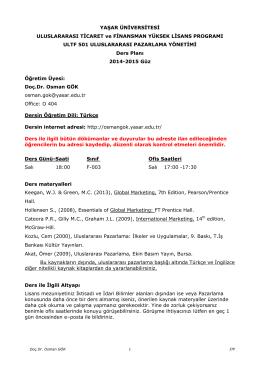 Uluslararası P azarlama Yönet imi Ders Planı 2014-2015