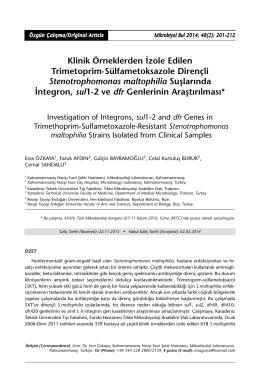 Klinik Örneklerden İzole Edilen Trimetoprim
