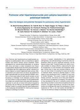 Pulmoner arter hipertansiyonunda yeni çalışma tasarımları ve