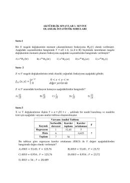 Birinci Seviye – Olasılık ve İstatistik Sınavı Soruları