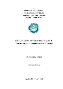 tc balıkesir üniversitesi fen bilimleri enstitüsü ilköğretim anabilim dalı