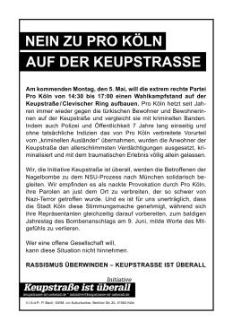 NeiN zu Pro KölN auf der KeuPstrasse