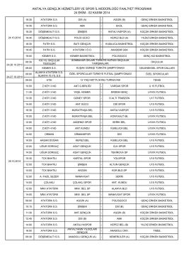 02 kasım 2014 - Antalya Gençlik ve Spor İl Müdürlüğü