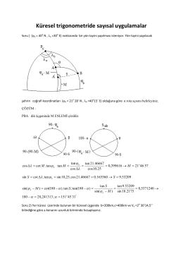 Küresel trigonometride sayısal uygulamalar