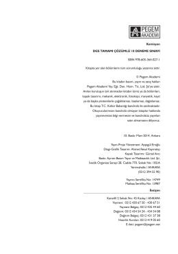 Komisyon DGS TAMAMI ÇÖZÜMLÜ 10 DENEME