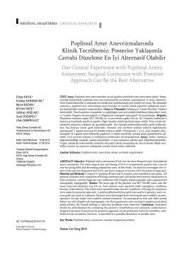 Popliteal Arter Anevrizmalarında Klinik Tecrübemiz: Posterior