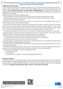 türk telekomünikasyon a.ş. 24 ay taksitli canon all ın one yazıcı