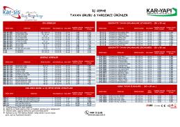 KARSİS tavan gurubu ve yardımcı ürünler Ocak-2014