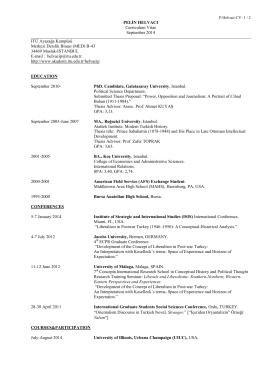 PELİN HELVACI Curriculum Vitae September 2014