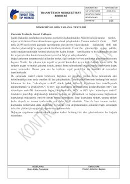 TRANSFÜZYON MERKEZİ TEST REHBERİ