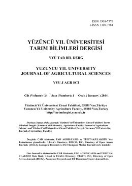 WORD - YYU Ziraat Fakültesi Tarım Bilimleri Dergisi