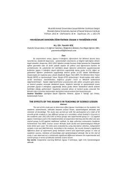 Fen Bilimleri Dersinin Öğretiminde Jigsaw II Tekniğinin Etkisi