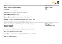 logitrans 2014 Etkinlik Programı 1 Başlık Gün / Zaman / Yer