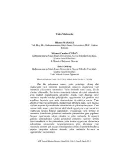 Yalın Muhasebe - KSÜ Sosyal Bilimler Dergisi