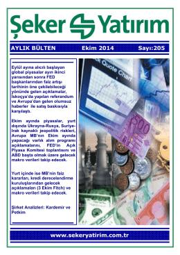 AYLIK BÜLTEN Ekim 2014 Sayı:205 www