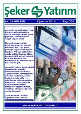 AYLIK BÜLTEN Ağustos 2014 Sayı:203 www