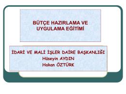 Bütçe Sunumu - İstanbul Üniversitesi | İdari ve Mali İşler Daire