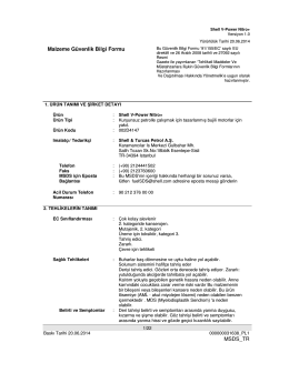 Malzeme Güvenlik Bilgi Formu MSDS_TR