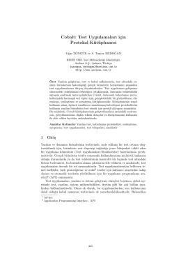Cobalt: Test Uygulamaları için Protokol Kütüphanesi - CEUR