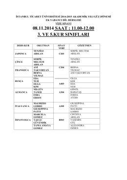 08.11.2014 SAAT : 11.00-12.00 3. VE 5.KUR SINIFLARI