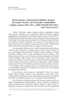 Kerim Demirci, Türkoloji İçin DilbilimKonular Kavramlar Teoriler, Anı