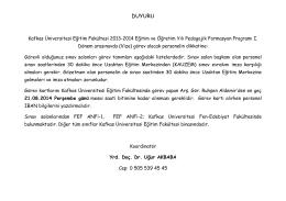 DUYURU - Kafkas Üniversitesi