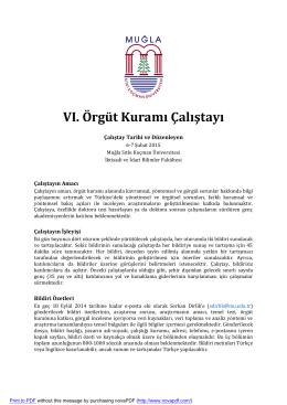 VI. Örgüt Kuramı Çalıştayı - İktisadi Ve İdari Bilimler Fakültesi