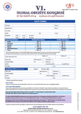 kayıt formu - VI. Ulusal Obezite Kongresi