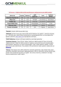 29 Temmuz – 1 Ağustos 2014 tarihlerinde bilançolarını