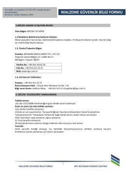 BPCOAT-EX Serisi MSDS - BPC